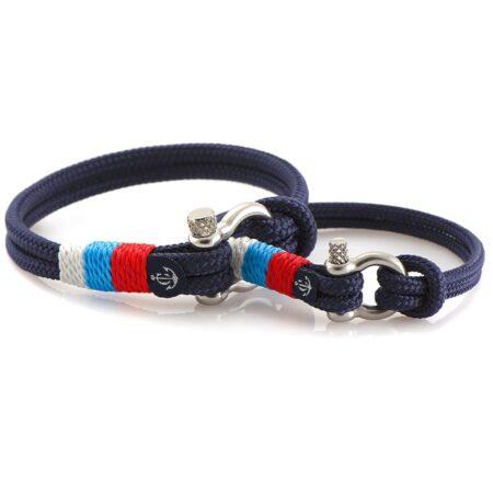 Парные браслеты синего цвета с триколором — № 995