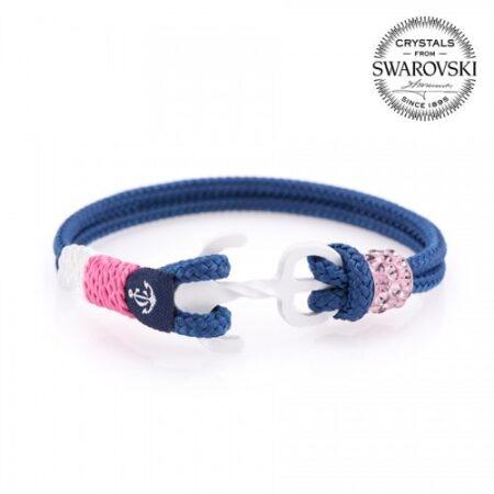 Синий браслет сваровски с розовым камнем и белым якорем — № 7114