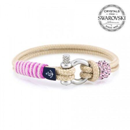 Бежевый браслет сваровски с розовым камнем для женщин — № 7142