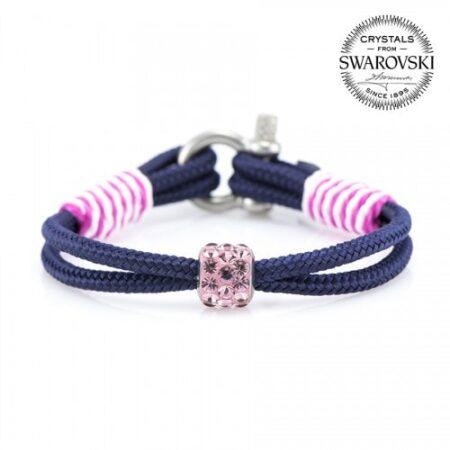 Синий браслет сваровски с розовым камнем для женщин — № 7143