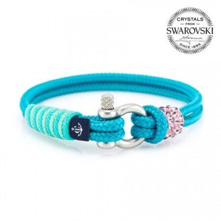 Голубой браслет сваровски с розовым камнем для женщин — № 7144
