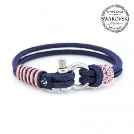 Синий браслет сваровски с розовым камнем для женщин — № 7145