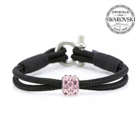 Чёрный браслет сваровски с розовым камнем для женщин — № 7146