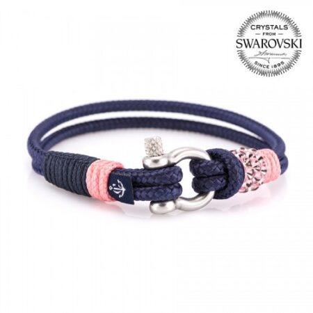 Синий браслет сваровски с розовым камнем для женщин — № 7169