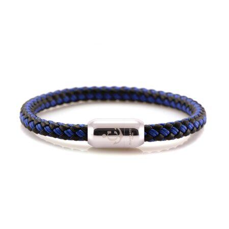Кожаный браслет чёрно-синего цвета с нитью и магнитом — № 10502