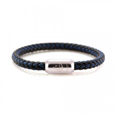 Кожаный браслет с морской нитью и магнитом чёрно-синего цвета  — № 10503
