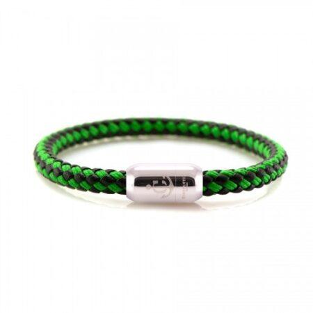 Кожаный браслет с морской нитью чёрно-зелёного цвета  — № 10504