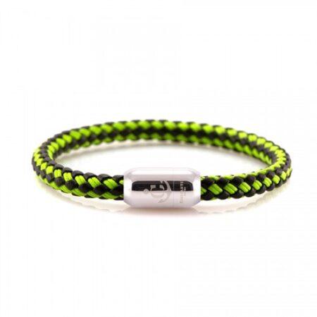 Кожаный браслет с морской нитью чёрно-салатового цвета  — № 10505