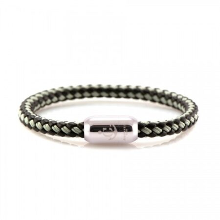 Кожаный браслет с морской нитью чёрно-серого цвета  — № 10506
